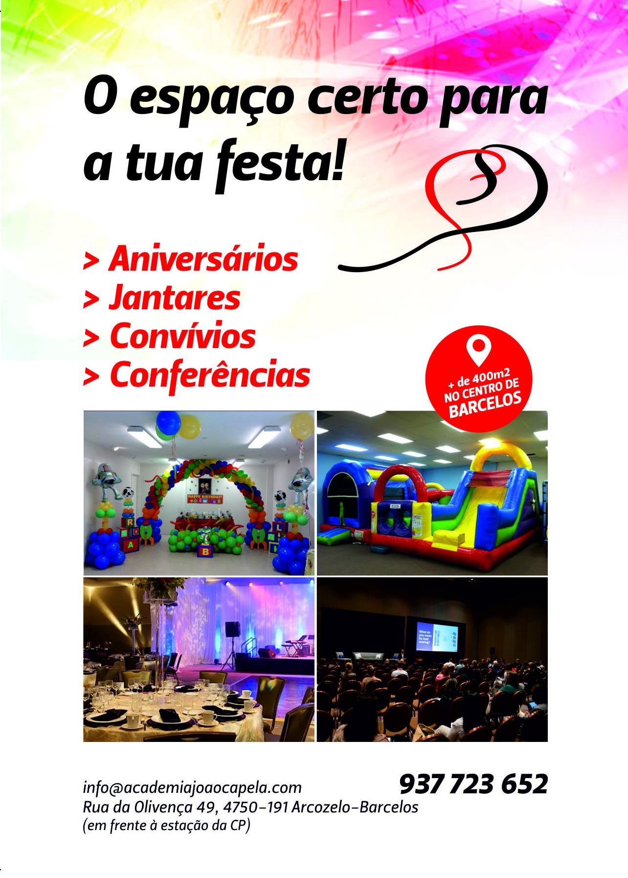 Aluguer do Espaço para Festas de Anos e outros Eventos em Barcelos