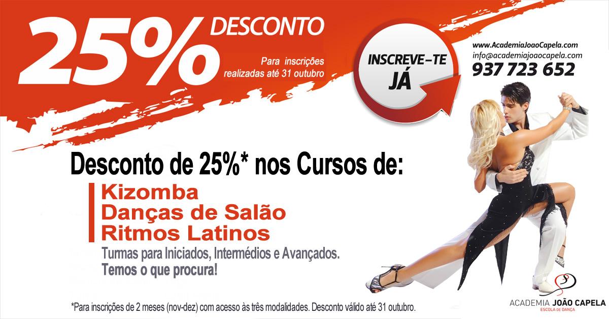 Novos cursos de Kizomba, danças de salão e ritmos latinos iniciam em Novembro em Barcelos, com 25% desconto