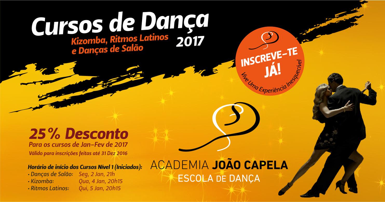 Cursos de Danças de SAlão Kizomba Ritmos Latinos Janeiro 2017 em Barcelos